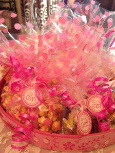 Baby girl shower popcorn treats