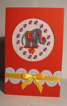Вышитая открытка,cross stitch card,elephant,circus,birthday