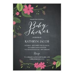 Chalked Floral Baby Shower Invitations Personalized Invites