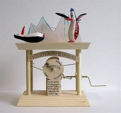 Neil Hardy's 'Clown Penguin' Automata Kinetic Toys, Kinetic Art, Diy Robot, Eye Art, Wood Toys, Benches, Puppets, Wood Crafts, Penguins