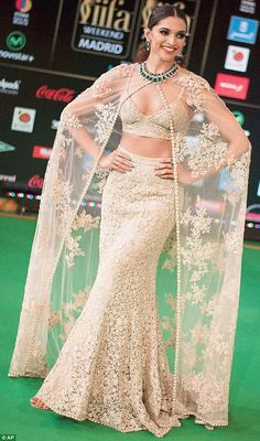 Bollywood's biggest stars were out in force for the IIFA Awards 2016 Best actress winner Deepika Padukone looked glowing in an ivory lace ensemble as she posed for photographers at the International Indian Film Academy Awards Celebrity Wedding Dresses, Dresses To Wear To A Wedding, Indian Wedding Outfits, Indian Outfits, Wedding Gowns, Indian Bollywood Actress, Bollywood Fashion, Dress Indian Style, Indian Dresses