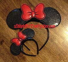 Headband PRINCESS BoW ITH Mr Miss Mouse Ears by astitchforyou
