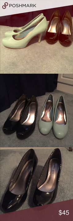 2 pairs: Madden Girl Getta pumps 2 pairs: Madden Girl Getta pumps in blue and black patent with 3.5 heel Madden Girl Shoes Heels