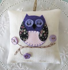 OWL~purple owl lavender bag by chrismadethis, via Flickr