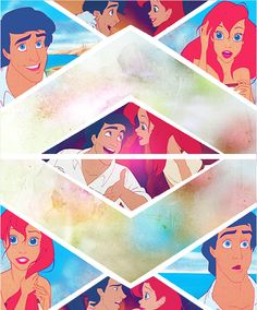 favorite couple: ariel and eric :) Disney Songs, Disney Love, Disney Magic, Disney Pixar, Walt Disney, Disney Collage, Disney Fan Art, Tiana And Naveen, Ariel Doll