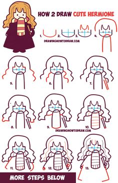 How to Draw Cute Hermione from Harry Potter (Chibi / Kawaii) Easy Steps Drawing Tutorial