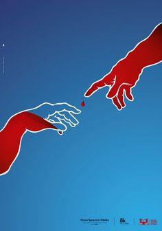 Genial Campaña para fomentar la donación de sangre basándose en La Creación de Adán de la Capilla Sixtina de Miguel Ángel