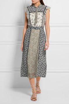 Bottega Veneta | Ruffled floral-print silk midi dress | NET-A-PORTER.COM