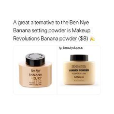 Would you rather save or splurge? These setting powders are yellow-toned and are supposed to suit just about any skin tone. Leaves skin flawless and set for the day! follow me @beautydupe.s for more !! #Makeup #Beauty #Dupe #Dupes #Settingpowder