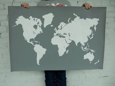Giant Modern World Map Print Poster - 24x36 - Gray and White.