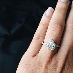 Lovely pear diamond halo engagement ring with subtle split shank - it's gorgeous! Split Shank Engagement Rings, Halo Diamond Engagement Ring, Wedding Day, Wedding Rings, Wedding Stuff, Dream Wedding, Pear Diamond Rings, Jewelry Shop, Wedding Designs
