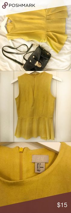 H&M Yellow Peplum Top ! Faux Suede! This top is perfect for summer with some whit jeans. Add a statement necklace on top for a more glam look!   Used a few times. H&M Tops