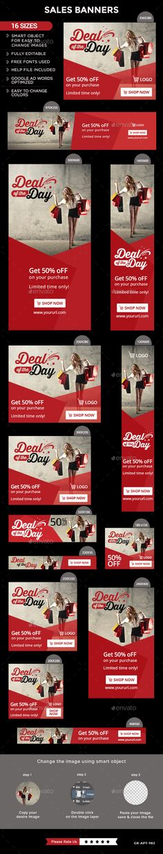 Sales Web Banners Template PSD #design #ads Download: http://graphicriver.net/item/sales-banners/13509201?ref=ksioks