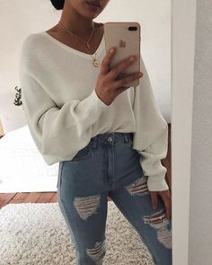 sweater Shop Sweaters & Cardigans Long Puff Sleeve V-Neck Casual Sweater. Winter Fashion Outfits, Teen Fashion, Fall Outfits, Summer Outfits, Womens Fashion, Ladies Fashion, Sweater Fashion, Fashion Pants, Black Outfits