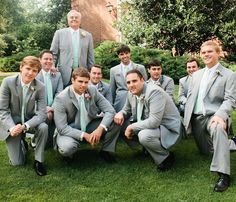 Grey suits with sea-foam tie... But bow ties  Birmingham Wedding by 509 Photo and Ginny Au « Southern Weddings Magazine