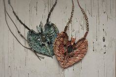 Fantasy dragon necklace /stone and wood imitations from
