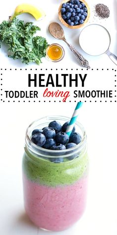 Healthy toddler smoothie recipe for picky eaters. Delicious and nutritious smoothie for your little one laced with kale that they can't even taste! Easy breakfast game on point with this healthy recipe! Vegan/ vegetarian/ clean eating approved!