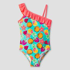 Girls' One Piece Fruit and Starfish Swimsuit Multicolor 6x - Freestyle, Multicolored