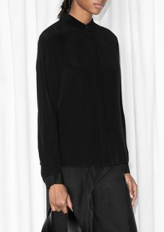& Other Stories   Straight Fit Silk Shirt