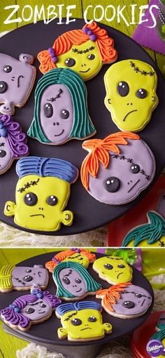 Eat their brains! These cookies give any Halloween party a family-fiendish tone! The ghastly green, gray, purple and orange shades are easy to achieve using the Wilton Color Right Performance Color System. Halloween Cookies Decorated, Halloween Sweets, Fete Halloween, Halloween Baking, Halloween Goodies, Halloween Cupcakes, Halloween Food For Party, Decorated Cookies, Halloween Ideas