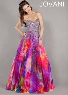 Love the tie-dyed inspired look! - Jovani 6757 Gown