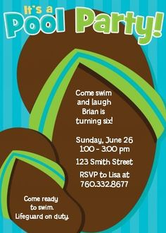 Flip Flops Boy Pool Party - Birthday Party Invitations