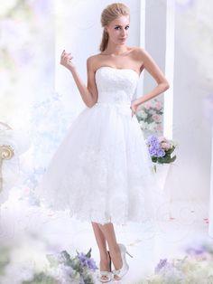 Aラインドレス 膝丈 レース アイボリー ウェディングドレス 花嫁ドレス 二次会ドレス B12165