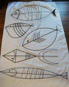MID CENTURY MODERN BLACK WIRE WALL ART FISH-#5 - sold but wonder how I could use the designs....?