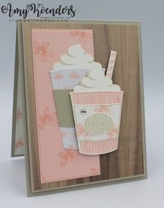 I used the Stampin' Up! Coffee Cafe stamp set to create a fun and girly thank you card to share with you today. My card design was loosely inspired by Freshly Made Sketches And the coff… Scrapbooking, Scrapbook Cards, Card Tags, I Card, Karten Diy, Coffee Theme, Coffee Cards, Homemade Cards, Stampin Up Cards