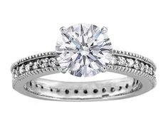 Vintage Style Diamond Engagement Ring Setting 0.34 tcw. In 14K White Gold