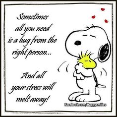 Sometimes all you need is a hug from the right person...Snoopy
