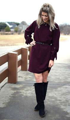 casual winter style - vince camuto tie sleeve maroon jewel tone dress with black urban outfitters (old) knee high boots. belted, of course!