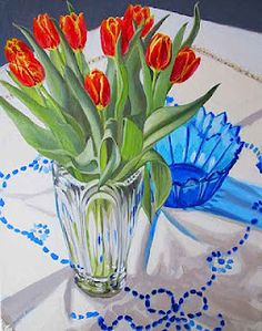 Tulips with blue bowl