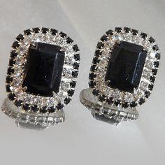 Vintage Rhinestone Earrings. Clear Black Rhinestones. by waalaa, $23.99