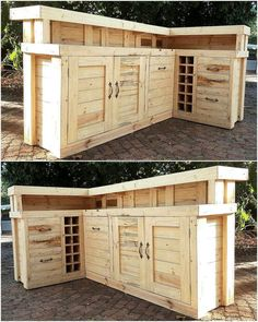 Now see a huge repurposed wood pallet bar idea, it contains space to store the items which is covered by the door. There are also small boxes to fit the wine bottles. It is great to be copied for the (Diy Wood Pallet) Pallet Bar Plans, Wood Pallet Bar, Wooden Pallet Projects, Pallet Crafts, Wooden Pallets, Wooden Diy, Pallet Ideas, Pallet Work Bench, Barn Wood