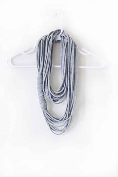 Make a neat multi-strand necklace out of an old tee. | 41 Awesomely Easy No-Sew DIY Clothing Hacks