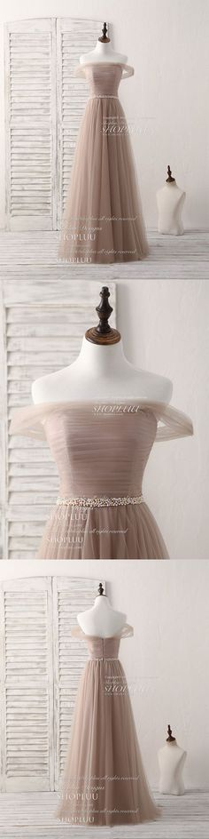 Champagne off shoulder tulle long prom dress, champagne evening dress
