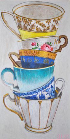 Andrea Letterie, Gestapelde kopjes, Gemengde techniek op paneel, 81x42 cm, €.850,-