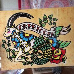 Capricorn Art, Capricorn Tattoo, Zodiac Tattoos, Pinup Art, Tatto Old, Tattoo Art, Los Muertos Tattoo, Kunst Tattoos, Old School Tattoo Designs