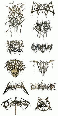 Logos of famous popstars transferred to scary looking death-metal-logos Justin Bieber, Lady Gaga, Spice Girls, Hanson. Death metal logos are always so complex. Metal Band Logos, Metal Font, Metal Bands, Death Metal, Black Metal, Tatto Design, Heavy Metal Fashion, Tattoo Style, Artist Logo