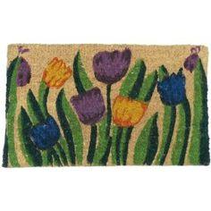"""""""Tulip Garden"""" Decorative Coir Mat - 18"""" x 30"""" Colorful Outdoor Cocomat"""