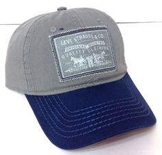 New$28 LEVI STRAUSS &CO HAT Relaxed-Fit Cotton Snapback Gray&Navy-Blue Men/Women #Levis #BaseballCap