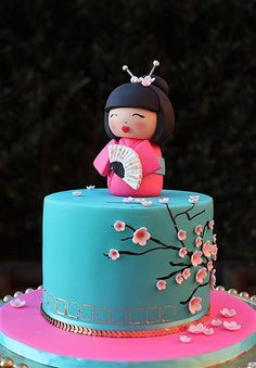 Turquoise Cherry Blossom Cake with Geisha Girl Topper