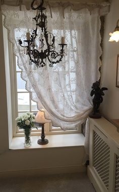 Clematis - Cream stylish long, embroidered (net, voile) sheer curtain panel with ribbon ties, designed in Scandinavia Fancy Curtains, Curtains Living Room, Dining Room Windows, Curtains, Patio Door Curtains, Curtain Designs For Bedroom, Window Treatments Bedroom, Small Window Curtains, Patio Door Coverings