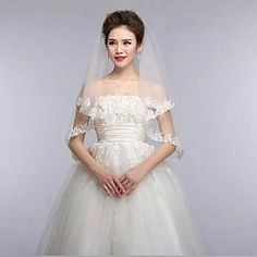 Ivory One Tire Fingertip Wedding Veils with Fine Flower Applique Trim ASV15 – USD $ 11.99