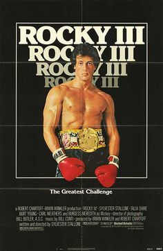 Rocky III (1982) - In the Rocky series, this is where the 70's gritty realism found in Rocky and Rocky II starts to give way to 80's flash and Stallone's burgeoning self-love as evidenced by this poster which eschews the silhouette motif for a shot of Stallone's newly chiseled  physique. (in 1982 --before that he was kinda pudgy and regular Joe looking). III is definitely sillier and more contrived than the previous two and is an omen of what's to come in Rocky IV.
