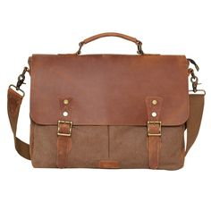 "Amazon.com: Wowbox Messenger Satchel bag for men and women,Vintage canvas real leather 14-inch Laptop Briefcase for everday use 13""(L)x10.5""(H) x 4.1""(W)(Gray): Computers & Accessories"