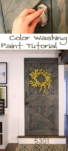 Use this simple color washing paint technique to change the color but still see the wood grain on a barn door. Gorgeous!