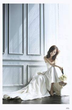 Simple Bridal Dress with Train,White Strapless Prom Dress,MB 320