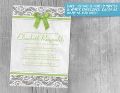 Lime Country Lace Bridal Shower Invitations